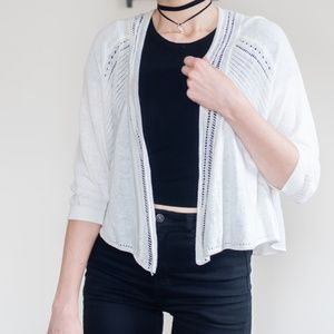 *anthropologie* K&K white open front cardigan MD